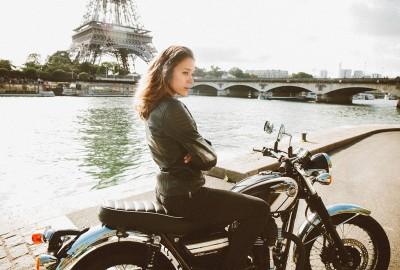 Blouson moto en cuir pour femme